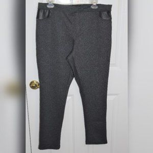 XL DKNY charcoal ponte pant leather accent